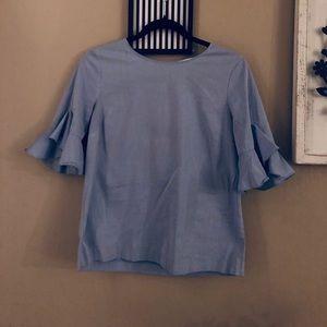 Calvin Klein Top | Grey Pencil Skirt | Nude Flats